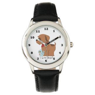 Het kinder Unisex-horloge van de liefdehonden van Polshorloges