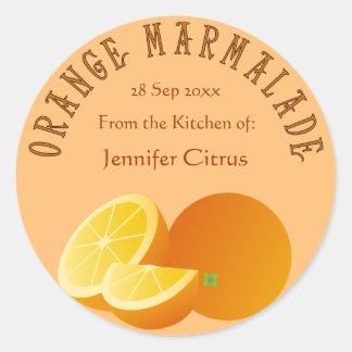 Het Klantgerichte Voedsel van de oranje Marmelade Ronde Sticker