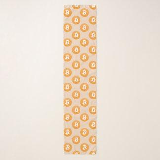 Het klassieke logo van Bitcoin in sinaasappel en Sjaal