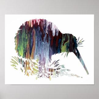 Het kleurrijke abstracte silhouet van de Kiwi Poster