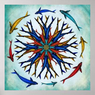 Het kleurrijke Abstracte Wiel van Koi Dharma Poster