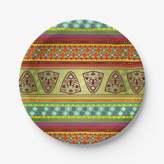 Het kleurrijke Afrikaanse Patroon van Kente van de Papieren Bordje