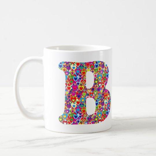Het Kleurrijke Dynamische Hart Gevulde B Monogram Koffiemok