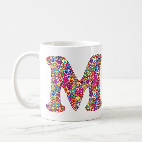 Het Kleurrijke Dynamische Hart Gevulde M Monogram Koffiemok
