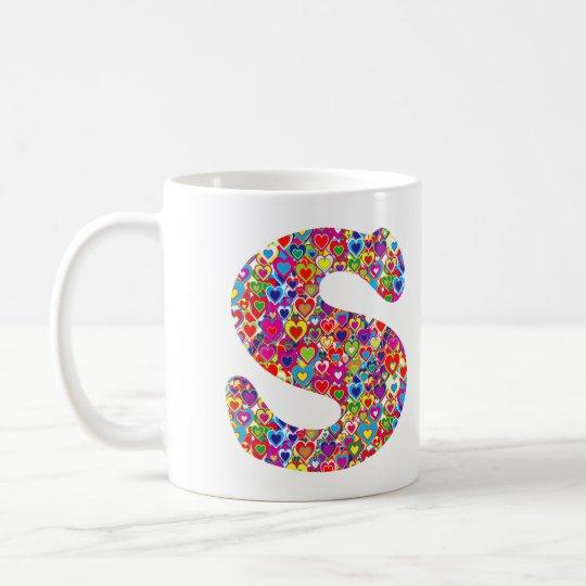 Het Kleurrijke Dynamische Hart Gevulde S Monogram Koffiemok