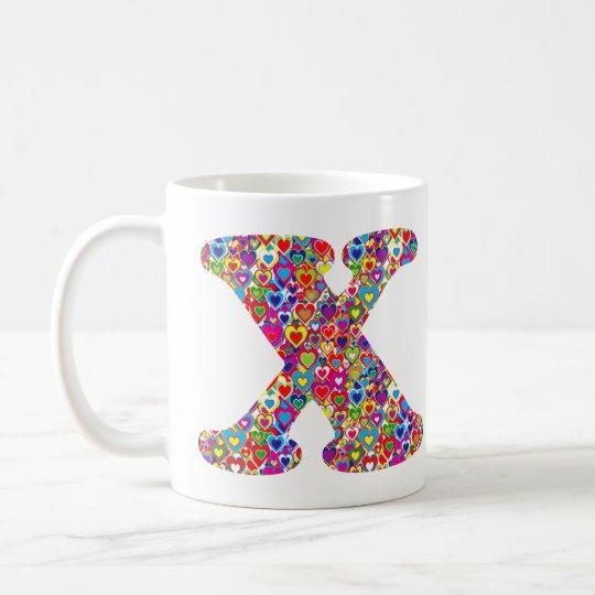 Het Kleurrijke Dynamische Hart Gevulde X Monogram Koffiemok