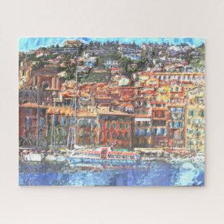 Het kleurrijke Franse Aquarelle van de Kust Legpuzzel