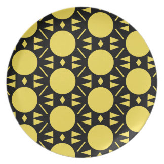 Het kleurrijke Gele en Zwarte Patroon van de Stijl Bord