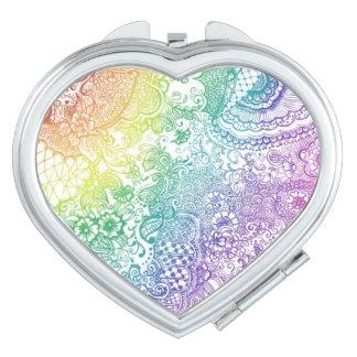 Het kleurrijke Hart vormde Compacte Spiegel Makeup Spiegeltje