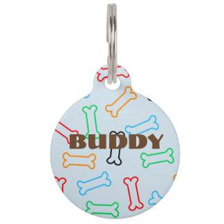 Het kleurrijke Hondebrokje beent het Label van het Huisdierpenning
