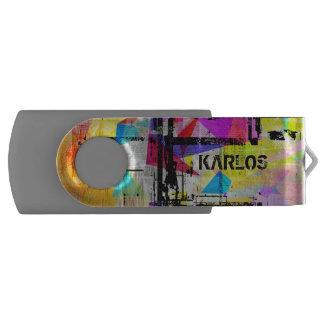 Het kleurrijke Moderne Monogram van de Kunst Swivel USB 3.0 Stick