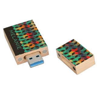 Het kleurrijke Moderne Monogram van het Patroon Houten USB 3.0 Stick
