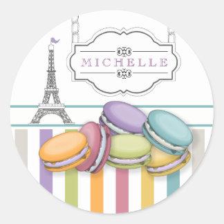 Het kleurrijke Monogram van de Toren van Parijs Ronde Sticker