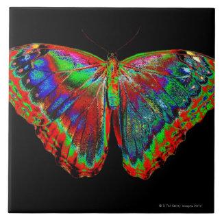 Het kleurrijke ontwerp van de Vlinder tegen zwarte Tegeltje Vierkant Large
