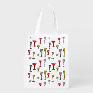Het kleurrijke Patroon van de Glazen van de Wijn Boodschappentas