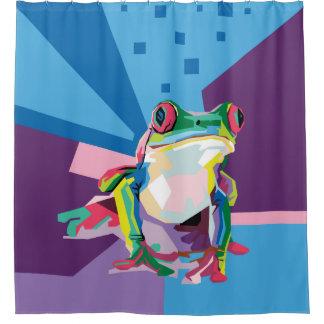 Het kleurrijke Portret van de Kikker van de Boom Douchegordijn