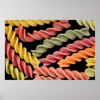 het kleurrijke poster van fusilli Italiaanse deegw