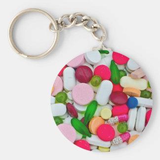 Het kleurrijke product van de pillendouane basic ronde button sleutelhanger