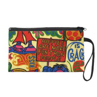 Het kleurrijke Retro Kunstwerk van de Hippie Tasje Met Polsbandje