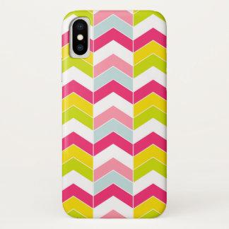 Het kleurrijke Roze Patroon van de Chevron van de iPhone X Hoesje
