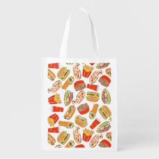 Het kleurrijke Snelle Voedsel van de Illustratie Herbruikbare Boodschappentas