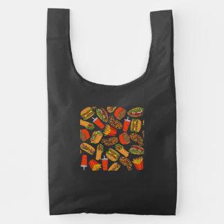 Het kleurrijke Snelle Voedsel van de Illustratie Herbruikbare Tas