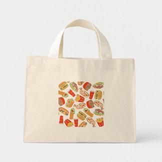 Het kleurrijke Snelle Voedsel van de Illustratie Mini Draagtas