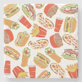 Het kleurrijke Snelle Voedsel van de Illustratie Stenen Onderzetter