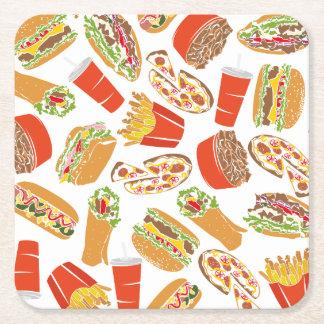 Het kleurrijke Snelle Voedsel van de Illustratie Vierkante Onderzetter