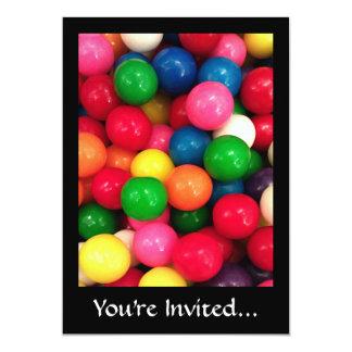 Het kleurrijke Snoep van de Bal van de Gom 12,7x17,8 Uitnodiging Kaart