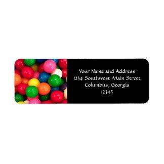 Het kleurrijke Snoep van de Bal van de Gom Etiket