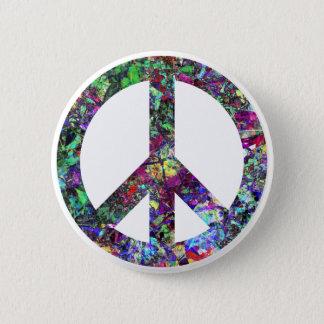 Het kleurrijke Teken van de Vrede Ronde Button 5,7 Cm