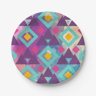 Het kleurrijke trillende patroon van de bohobatik papieren bordje