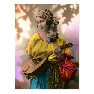 Het kleurrijke Vintage Meisje van de Zigeuner Briefkaart