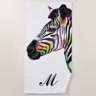 Het kleurrijke Zebra van het Pop-art Met monogram Strandlaken