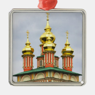 Het klooster van Sergiev van de Drievuldigheid Zilverkleurig Vierkant Ornament