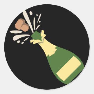 Het knallen Champagne Emoji Ronde Sticker
