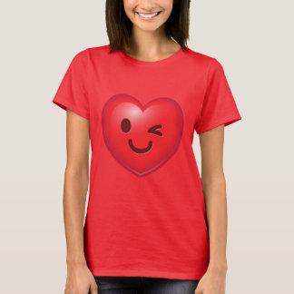 Het knipogen Hart Emoji T Shirt