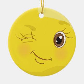 Het knipogen Ornament Smiley van Emoji van de