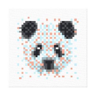 Het koele Art. van het Pixel van de Panda Stretched Canvas Print