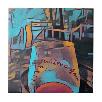 Het koele Artistieke Glas van de Wijn Keramisch Tegeltje