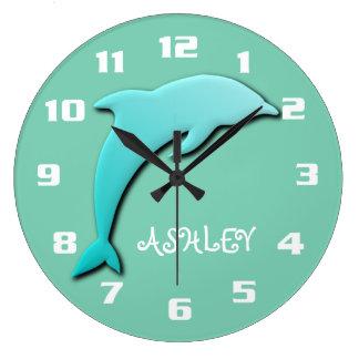 Het koele Blauwe Monogram van de Dolfijn Aqua Grote Klok
