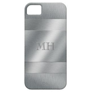 Het koele Geborstelde Metaal kijkt Monogram Barely There iPhone 5 Hoesje