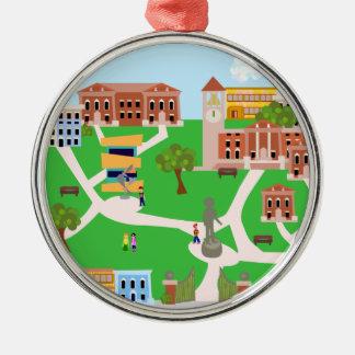 Het koele Ontwerp van de Campus Zilverkleurig Rond Ornament