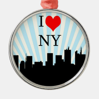 Het koele Ontwerp van New York van het Hart van de Zilverkleurig Rond Ornament