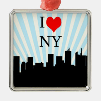 Het koele Ontwerp van New York van het Hart van de Zilverkleurig Vierkant Ornament
