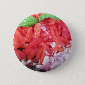 Het koken van eigengemaakte tomatensaus die ronde button 5,7 cm