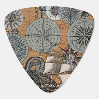 Het kompas nam de Vintage Zeevaart Grafische Druk Plectrum
