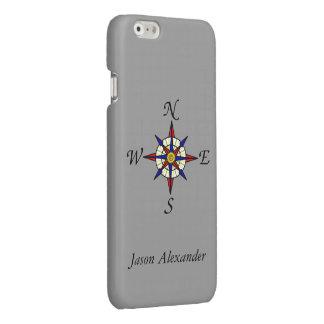 Het kompas nam Gepersonaliseerd Grijs toe Glossy iPhone 6 Hoesje
