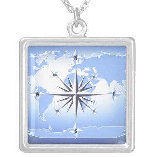 Het kompas nam Ketting van de Kaart van de Wereld
